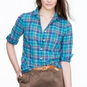 J.Crew boy checkered button down top (Q16)